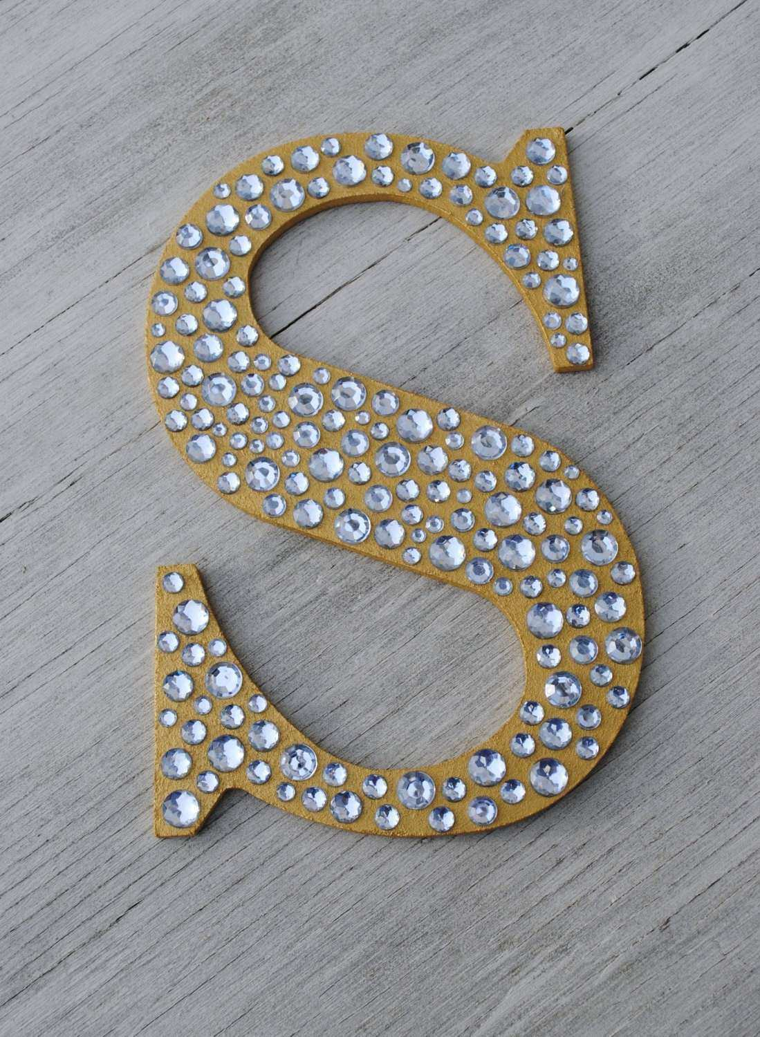 9 Sparkle Gold Bling Decorative Wall Letters Wedding