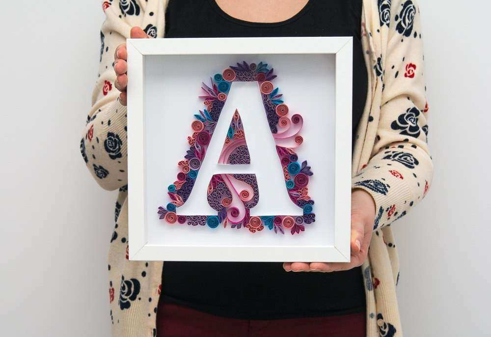 Framed Wall Art Quilling Quilled Monogram A by PaperParadisePL