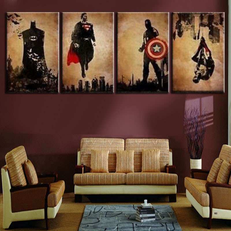 Unframed 4 Panel Superhero Man Handpainted Modern Abstract