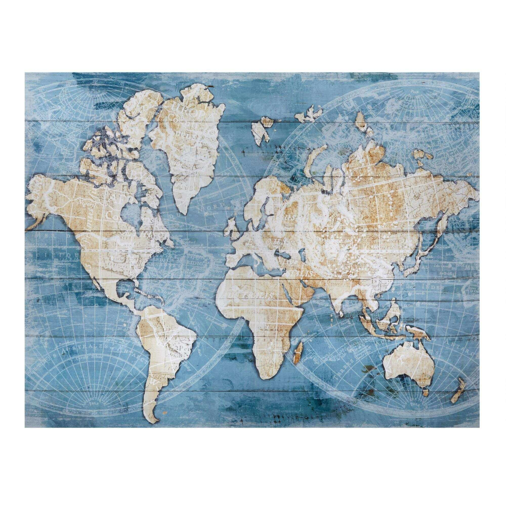 "22""x28"" World Map Canvas Wall Art"