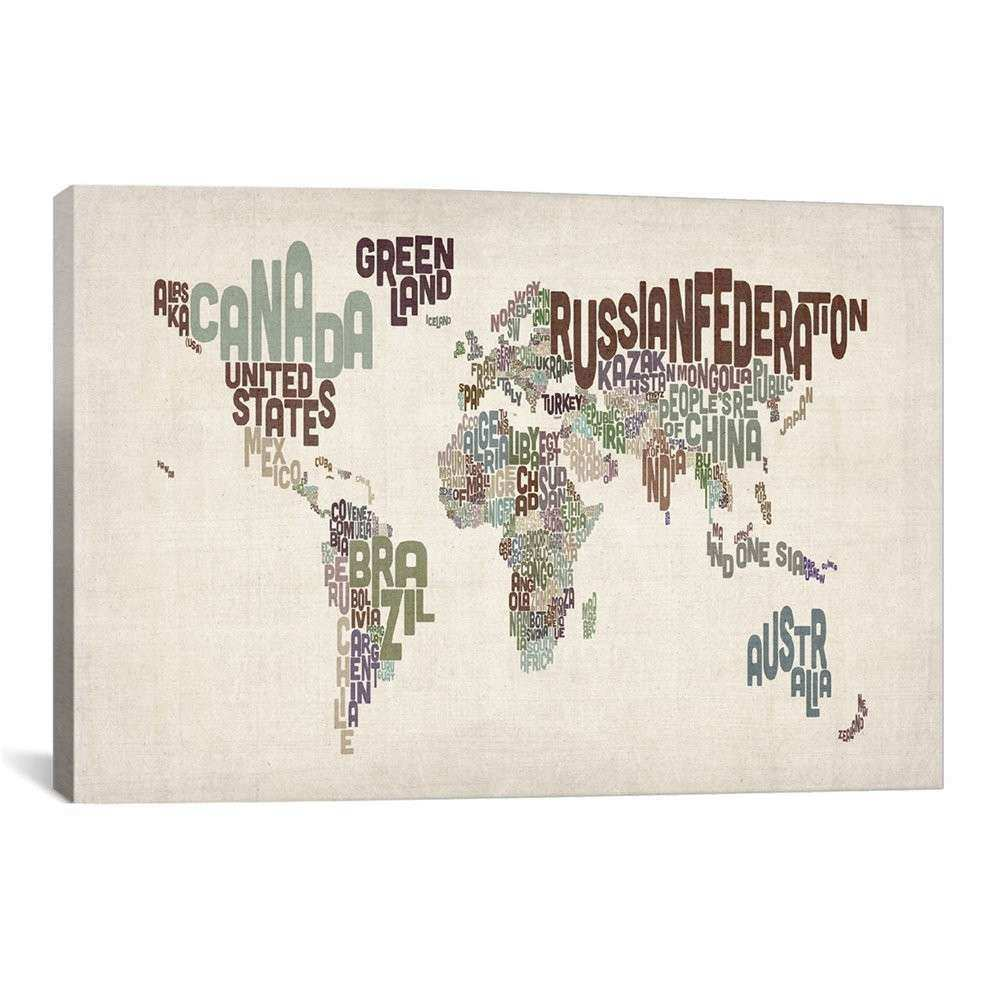 iCanvas Typographic World Map VI Canvas Print Wall