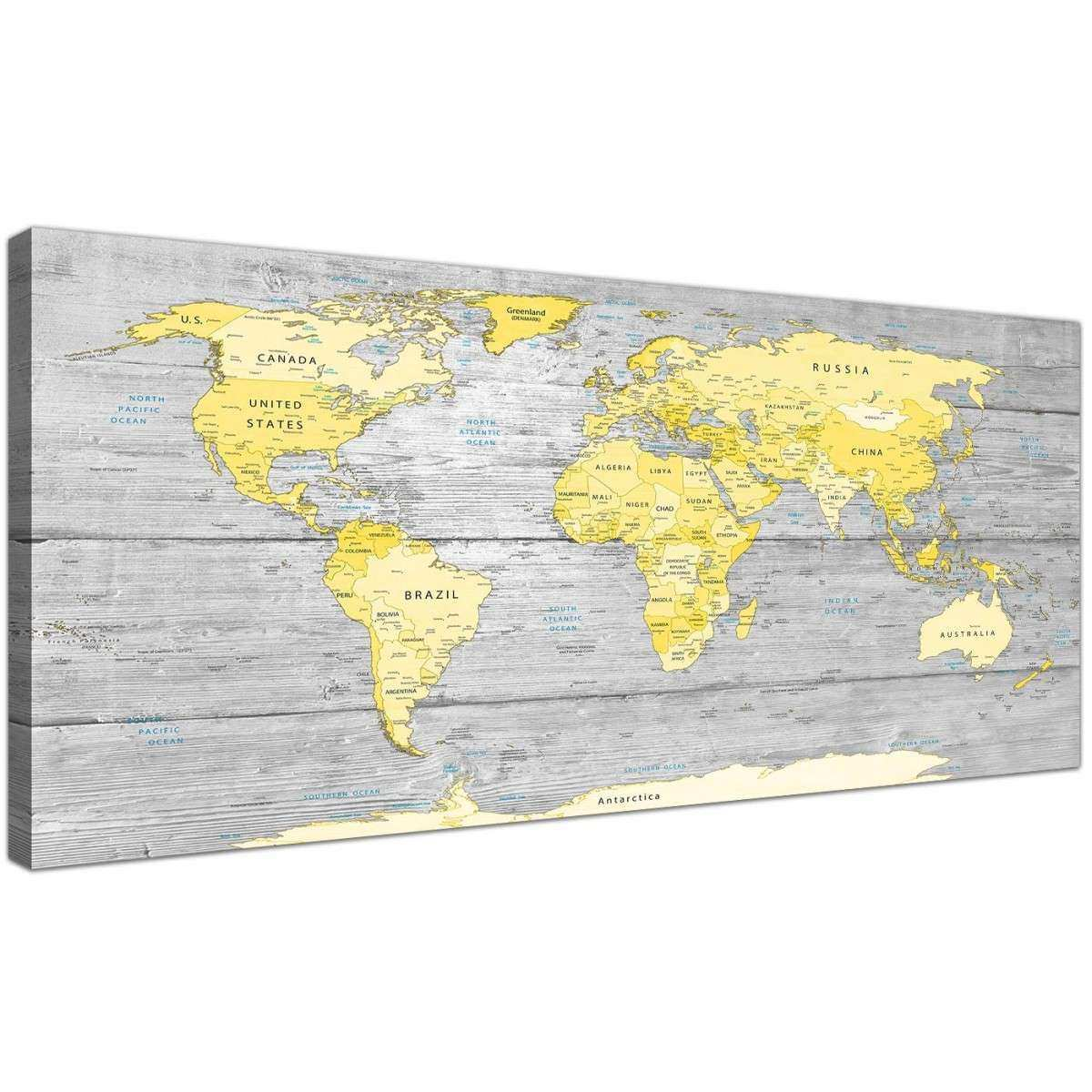 map canvas wall art unique yellow grey map of world atlas canvas