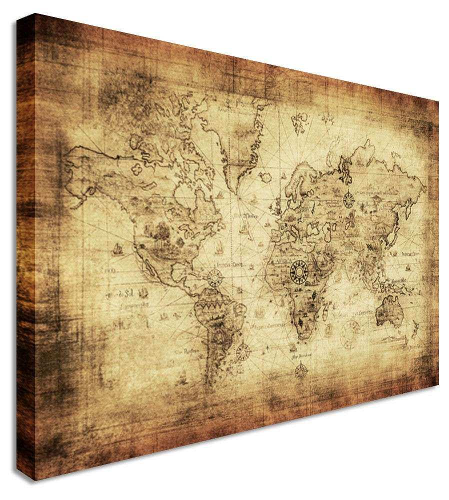 World Map Vintage Printed Canvas Wall Art