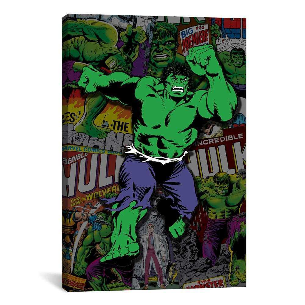 iCanvas MRV191 Marvel ic Book Hulk Covers Collage