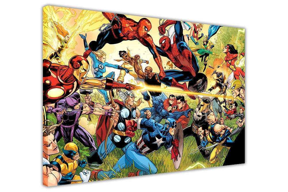 MARVEL SUPERHERO WAR CANVAS PICTURES WALL ART PRINTS HOME
