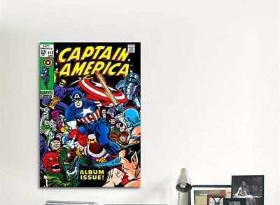 Marvel Canvas Wall Art Inspirational Icanvas Mrv6 Marvel Ic Book Captain America issue Cover