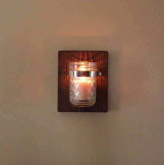 Mason jar wall sconce planter candle holder farmhouse wall