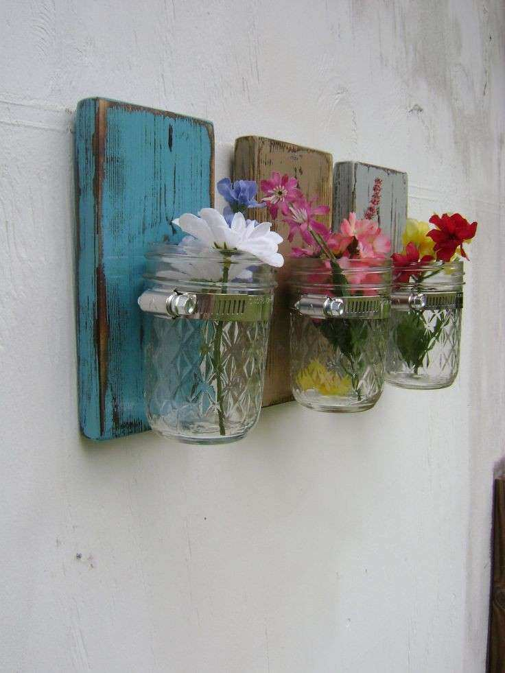 Mothers day Shabby chic rustic wooden vases sconce mason