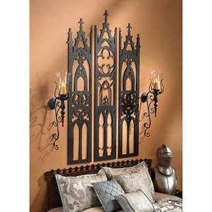 GOTHIC CATHEDRAL TRYPTYCH WALL SCULPTURE DESIGN TOSCANO