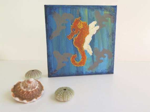 Mermaid Canvas Wall Art Beautiful Mini Wall Art original Canvas Mermaid Decor by Mikaharmony
