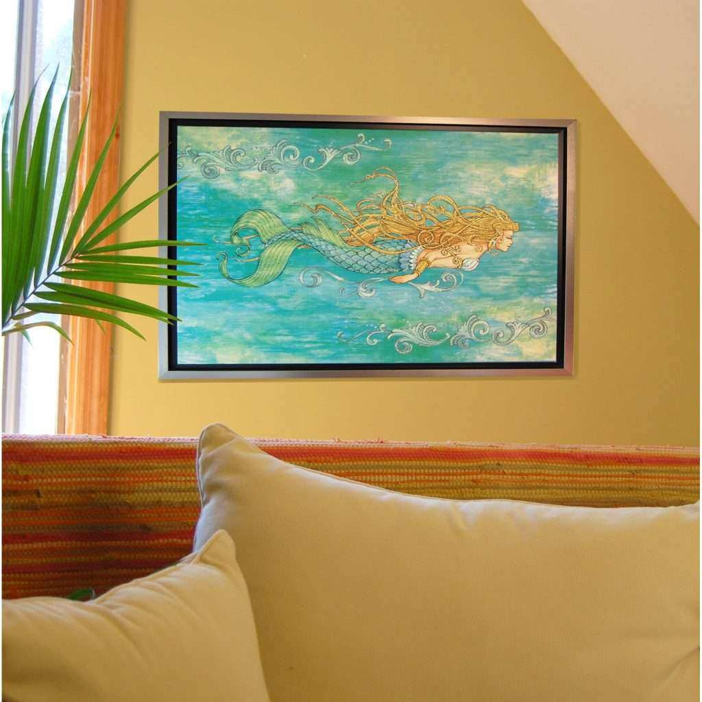 Mermaid Canvas Wall Art Beautiful Rightside Design Pearl Of the Sea by Lynn Mckernan Framed