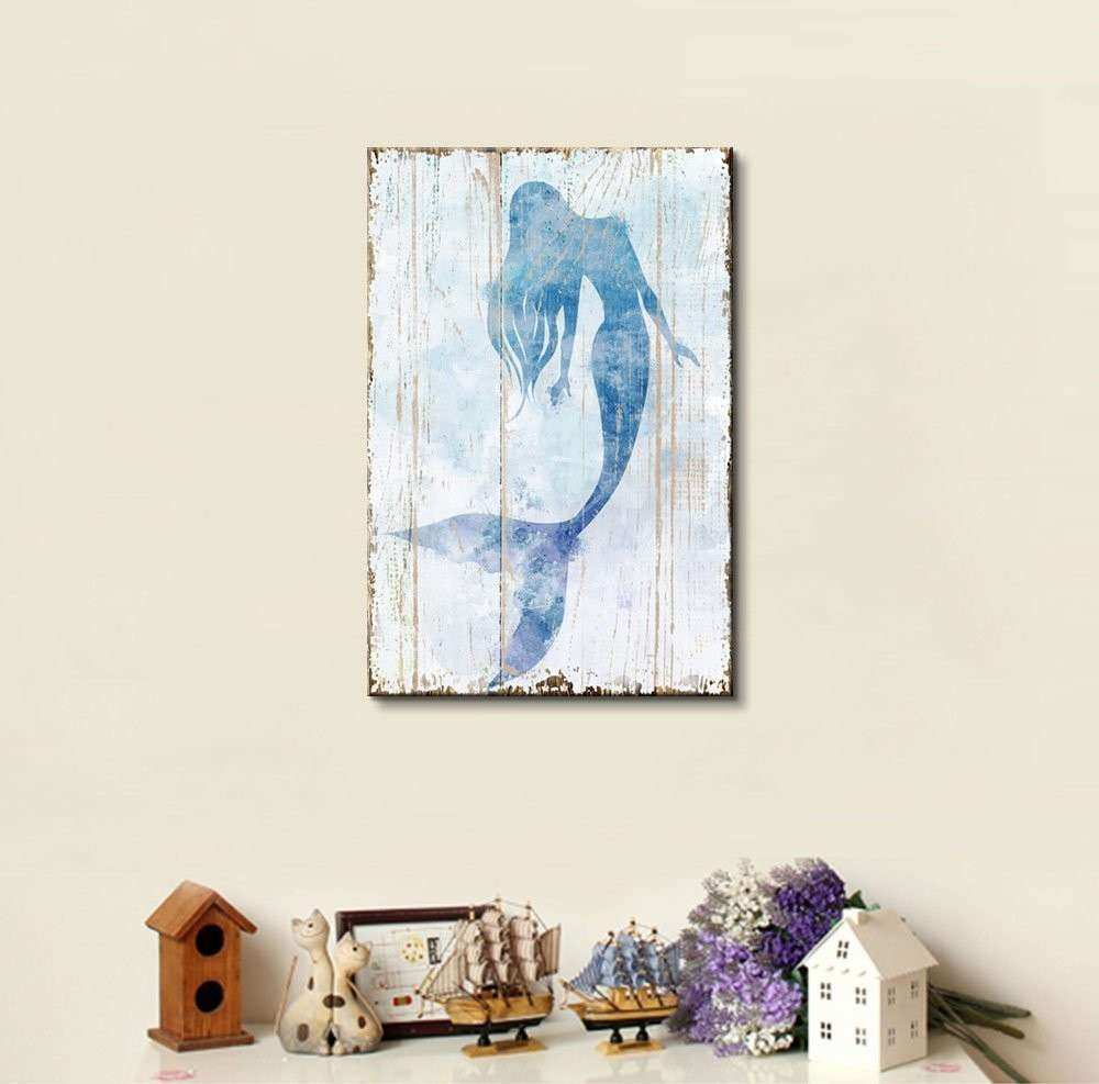 Canvas Wall Art Mermaid Picture on Vintage Background