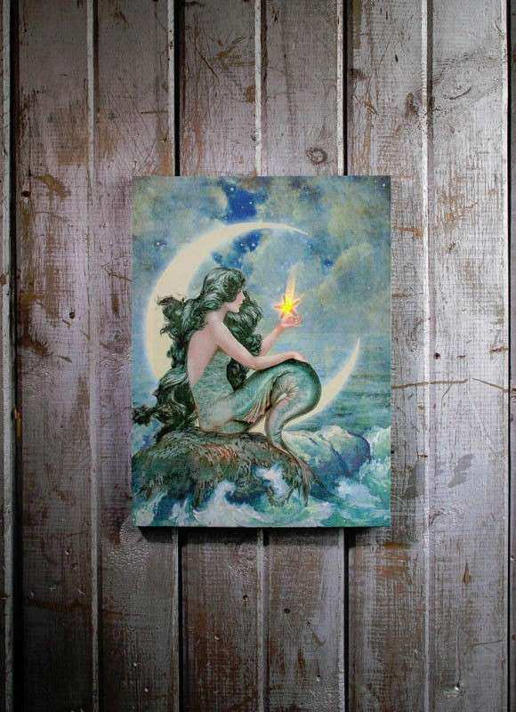 Mermaid with Flickering Light Radiance Lighted Canvas Wall