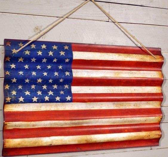 American flag wall art Corrugated metal and American flag on Pinterest