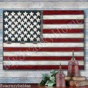 Extra AMERICAN FLAG Metal Wall Art Folk Patriotic Country Cottage Luxury