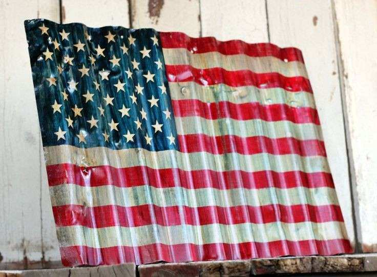 AMERICAN Flag Reclaimed painted and distressed metal sign Industrial Rustic Home Decor