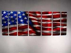 Abstract Metal Wall ART Painting Sculpture Modern Original American Flag ART