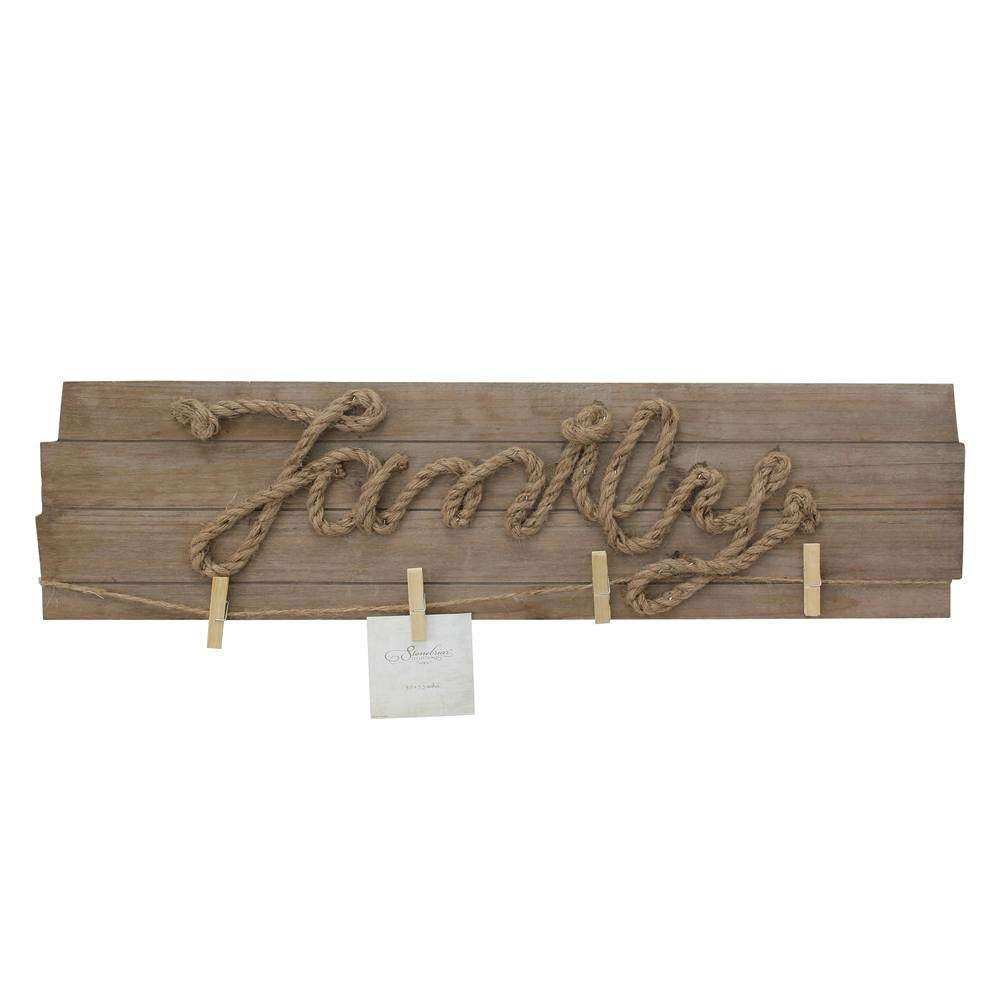 Wooden FAMILY Wall Décor with Metal Clips