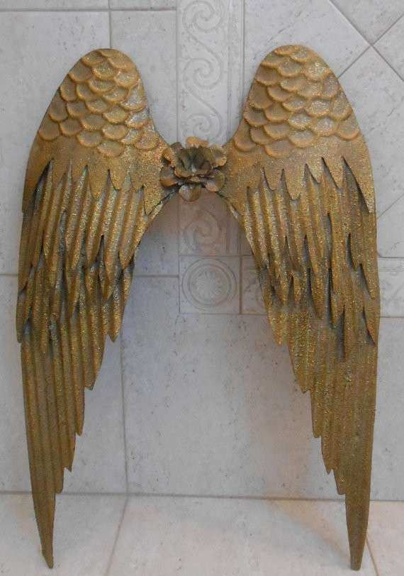 Metal Angel Wings Wall Decor Awesome Gold Shabby By