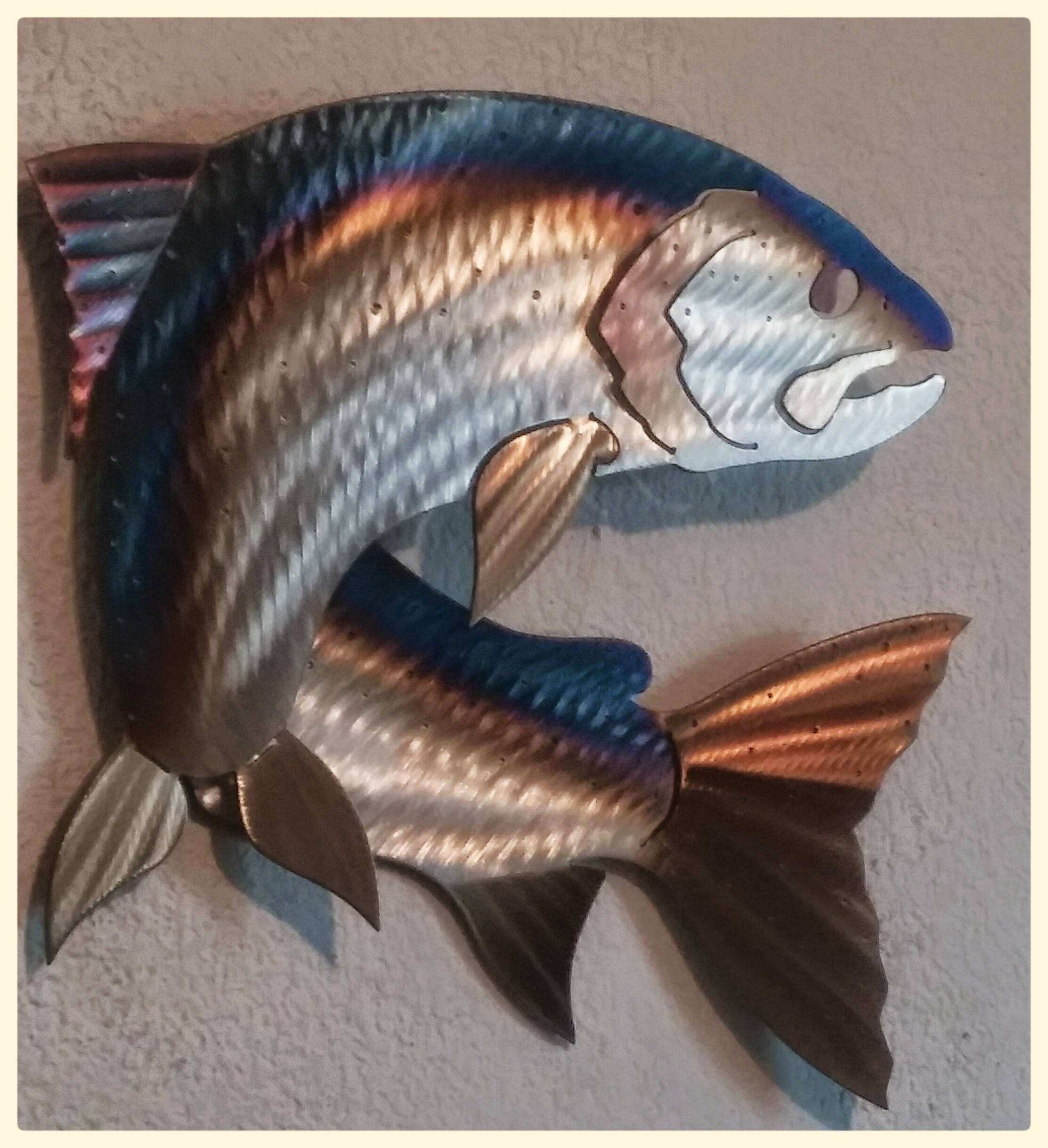E Of A Kind Hand Made Metal Salmon Fish Fly Fishing Metal Fish Wall Art ...