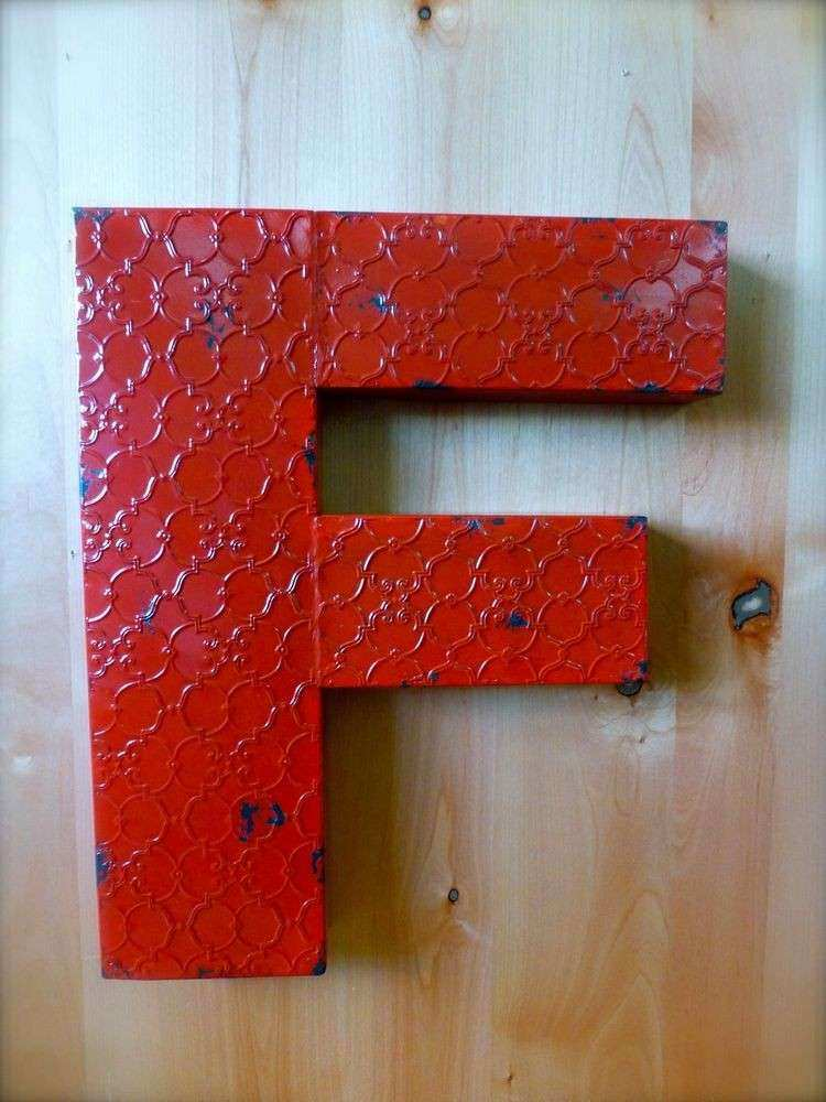 """INDUSTRIAL RED METAL WALL LETTER """"F"""" 20"""" TALL rustic"""
