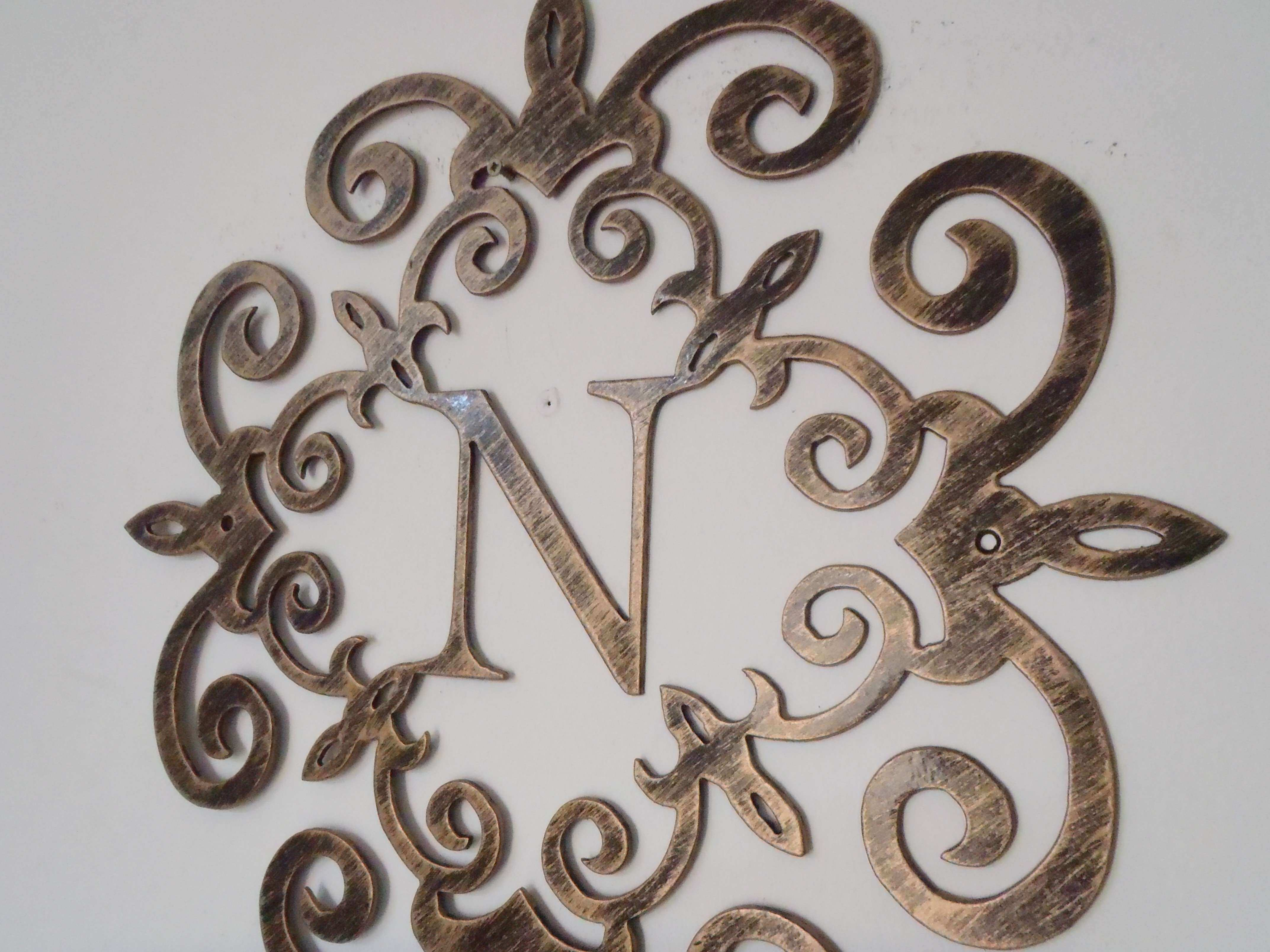 Metal Scroll Wall Art Best Of Family Initial Monogram Inside A Metal Scroll  With N