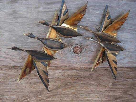 Metal Wall Art Geese Birds Flying Mid Century Decor