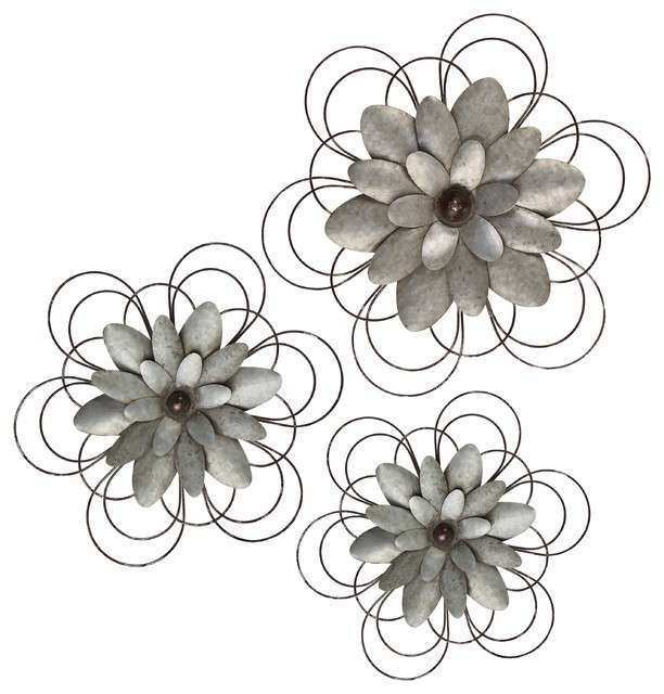 Metal Wall Flower Decor Set of 3 Rustic Plants by
