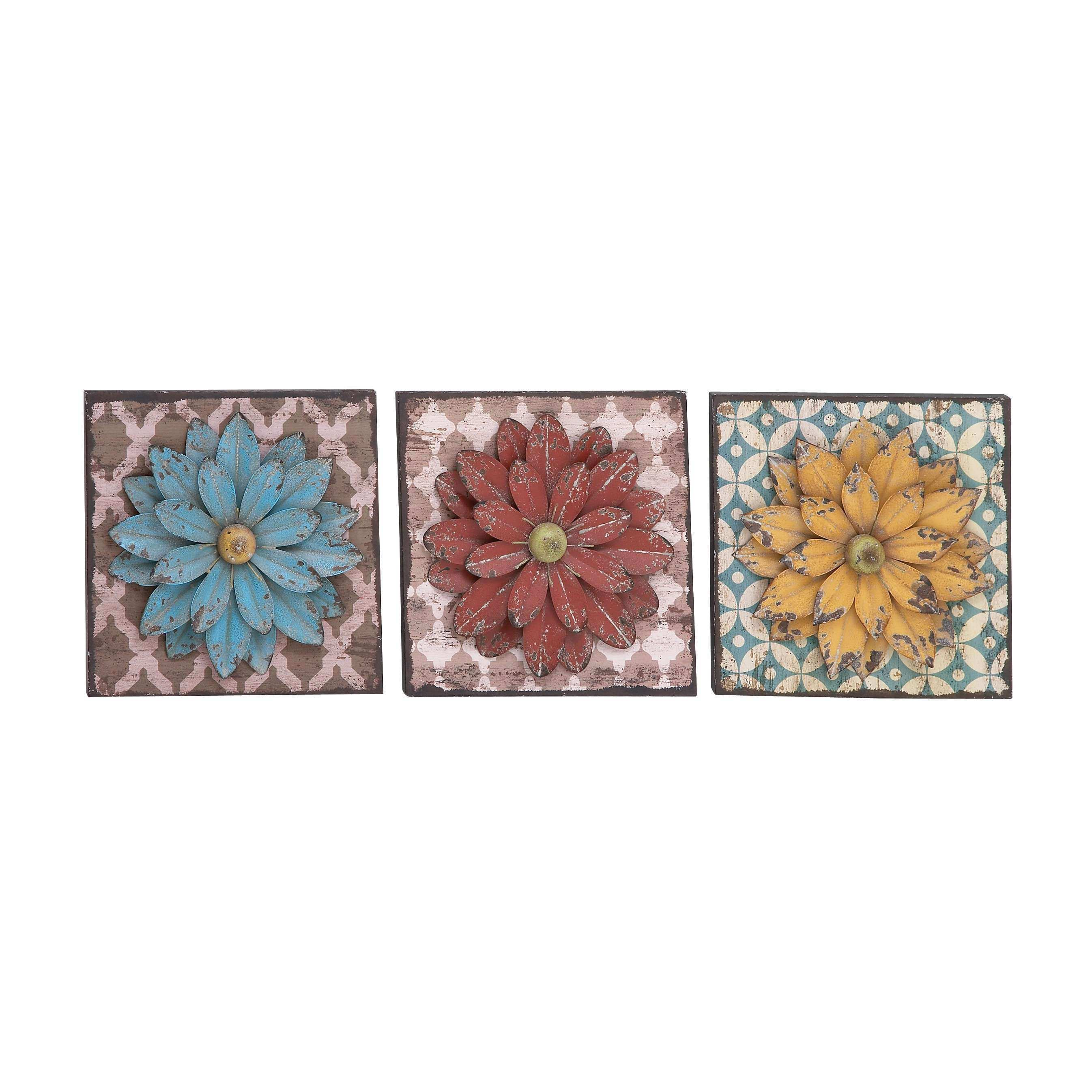 Woodland Imports 3 Piece Unbeatable Metal Flower Wall