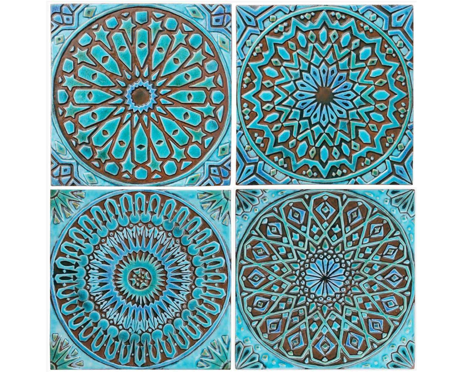 Moroccan Wall Art Inspirational 4 Moroccan Wall Hangings Ceramic Tiles Wall  Decor