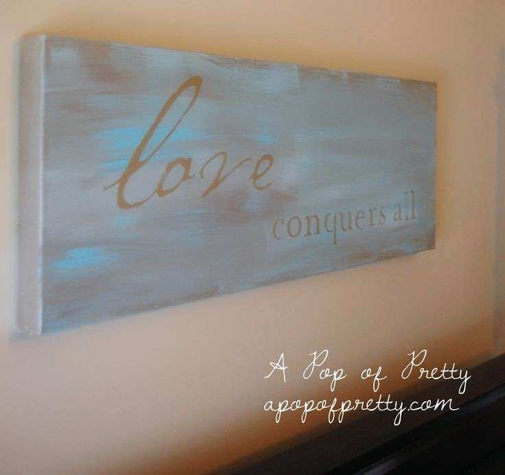 "Motivational Canvas Wall Art Lovely Diy Wall Art ""love Conquers All"" Painted Canvas"