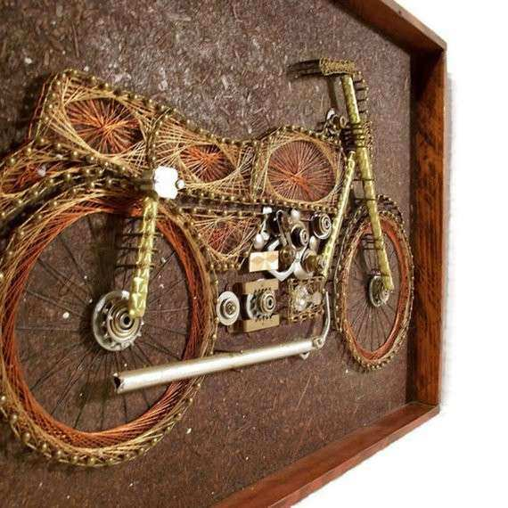 Motorcycle Wall Art New Vintage 1970s Wire Art Motorcycle Wall Art ...