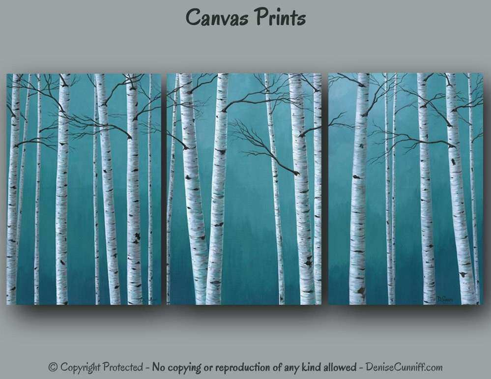 Ready to hang Canvas wall art Multi panel Birch tree