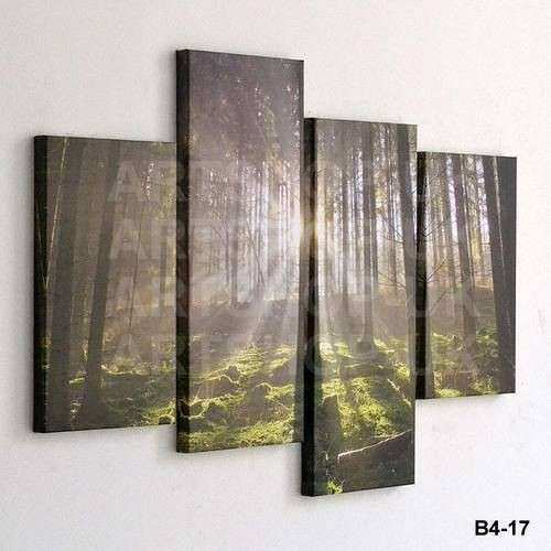 Details about 4 PIECE LARGE CANVAS PICTURE STAGGERED WALL