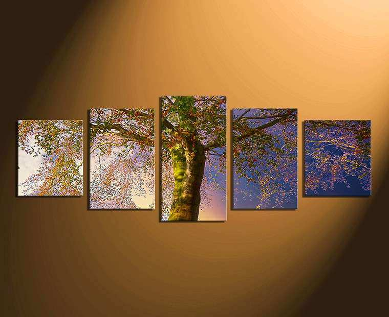 5 Piece Artwork Scenery Wall Decor Blue Canvas
