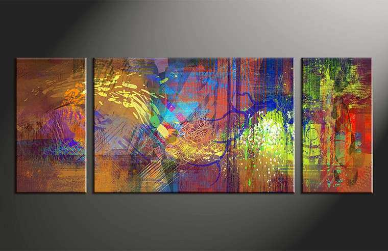 3 Piece Abstract Wall Art Colorful Oil Paintings Canvas