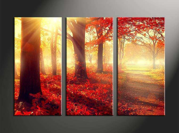 Attractive Multi Piece Canvas Wall Art New 3 Piece Canvas Red Autumn Scenery Art