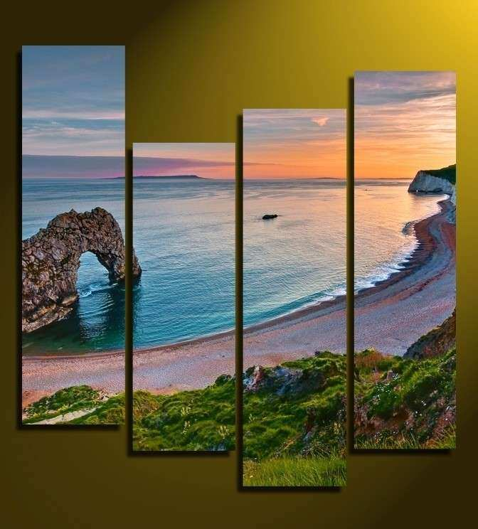 4 Piece Ocean Canvas Wall Art Beach Multi