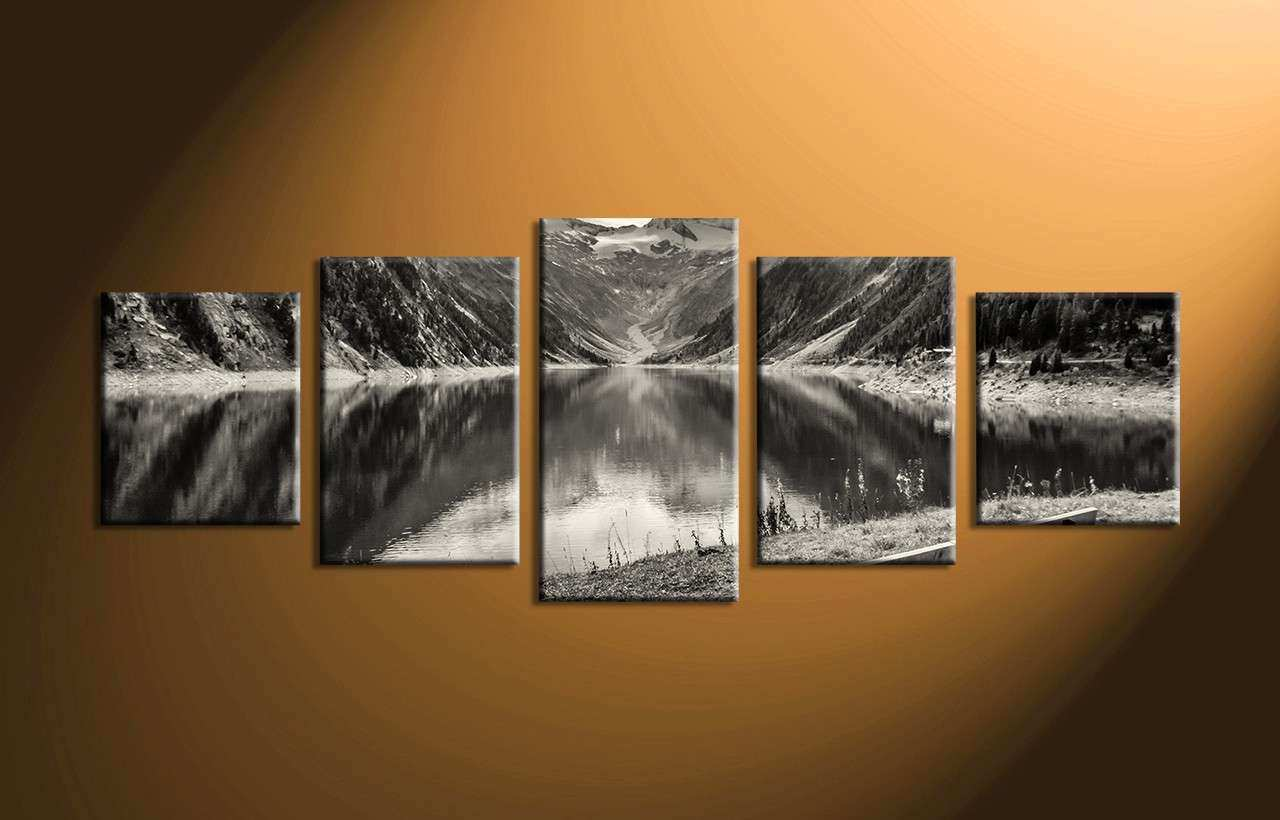 5 Piece Mountain Black and White Canvas