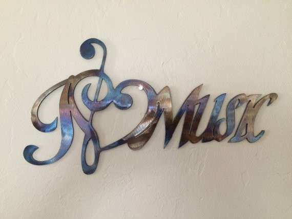 I Love Music Notes Metal Wall Art Decor by Cre8iveMetalDesigns