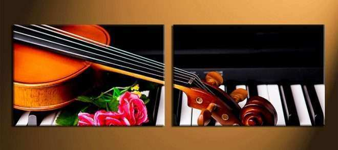 Music Wall Art Canvas New 2 Piece Group Canvas Musical Wall Canvas Print Rose