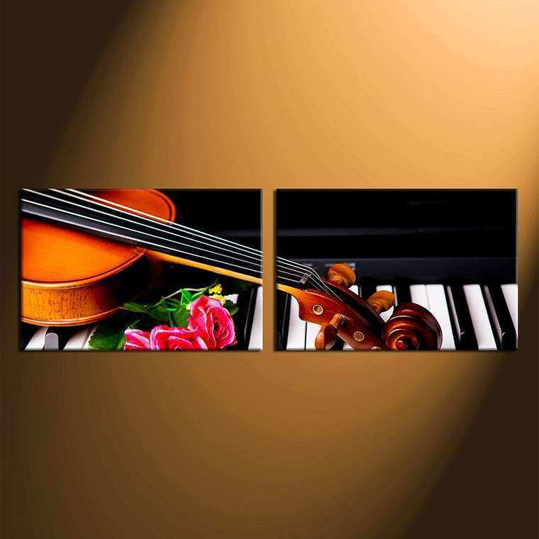 2 Piece Group Canvas Musical Wall Canvas Print Rose