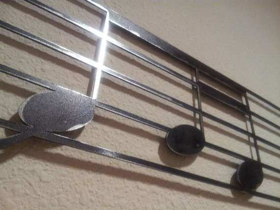 Musical Note Metal Wall Art Inspirational Items Similar To Music Notes On Treble Clef