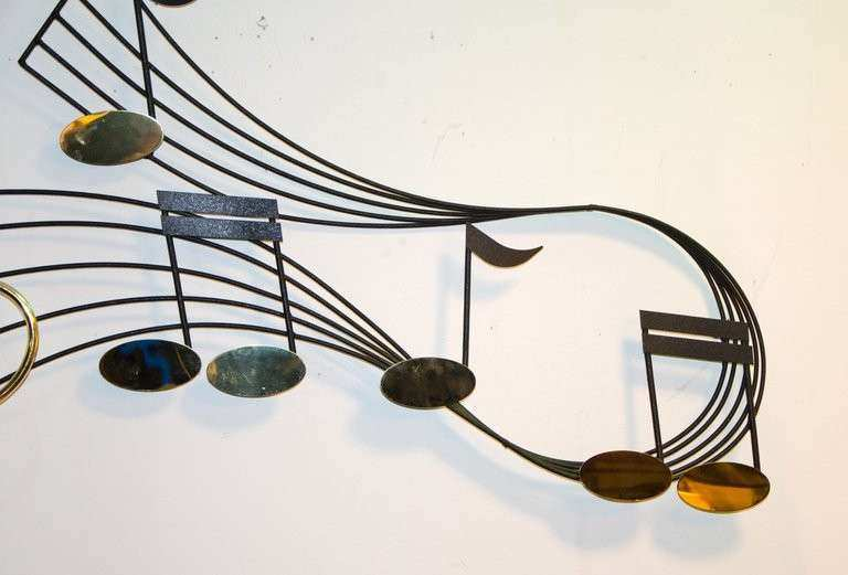Metal Wall Sculpture Musical Notes at 1stdibs
