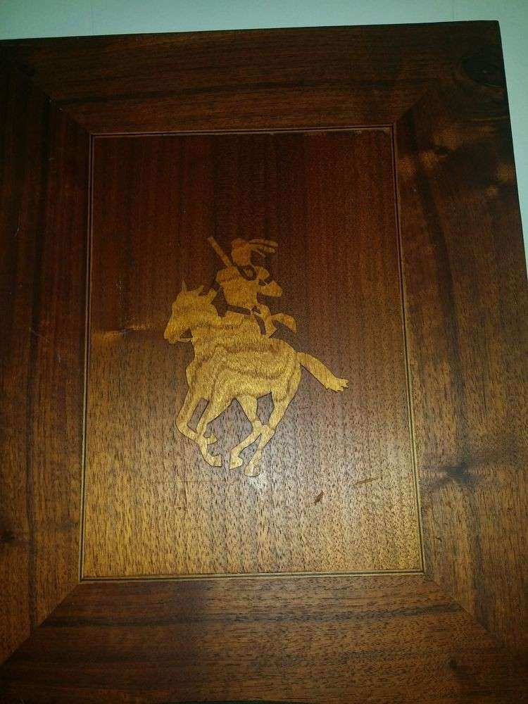 vintage Wood Indian Native American Horse picture wall