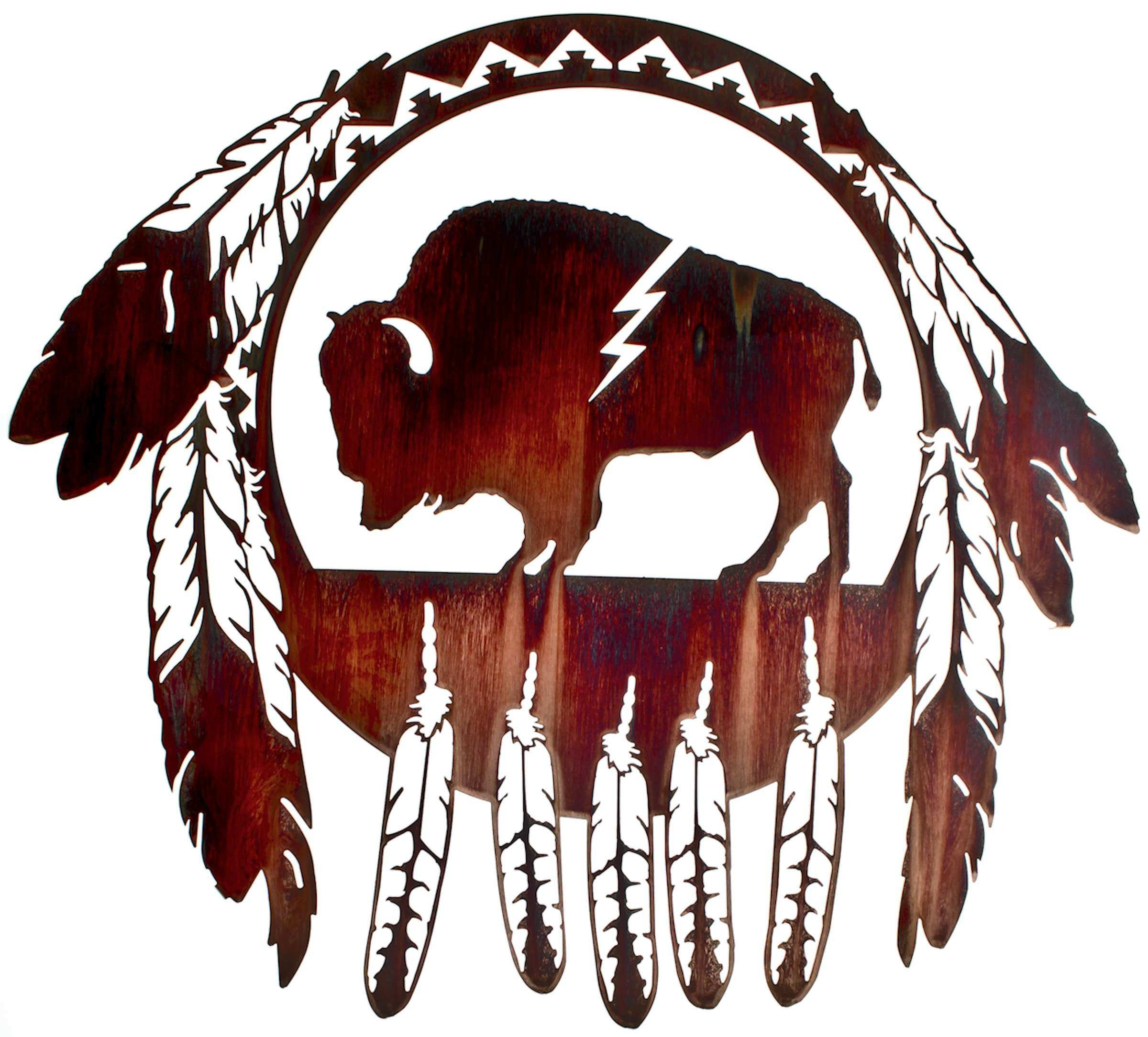 "24"" Buffalo Native American Wall Art"