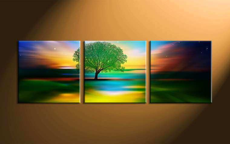 3 Piece Colorful Landscape Tree Canvas Wall Art