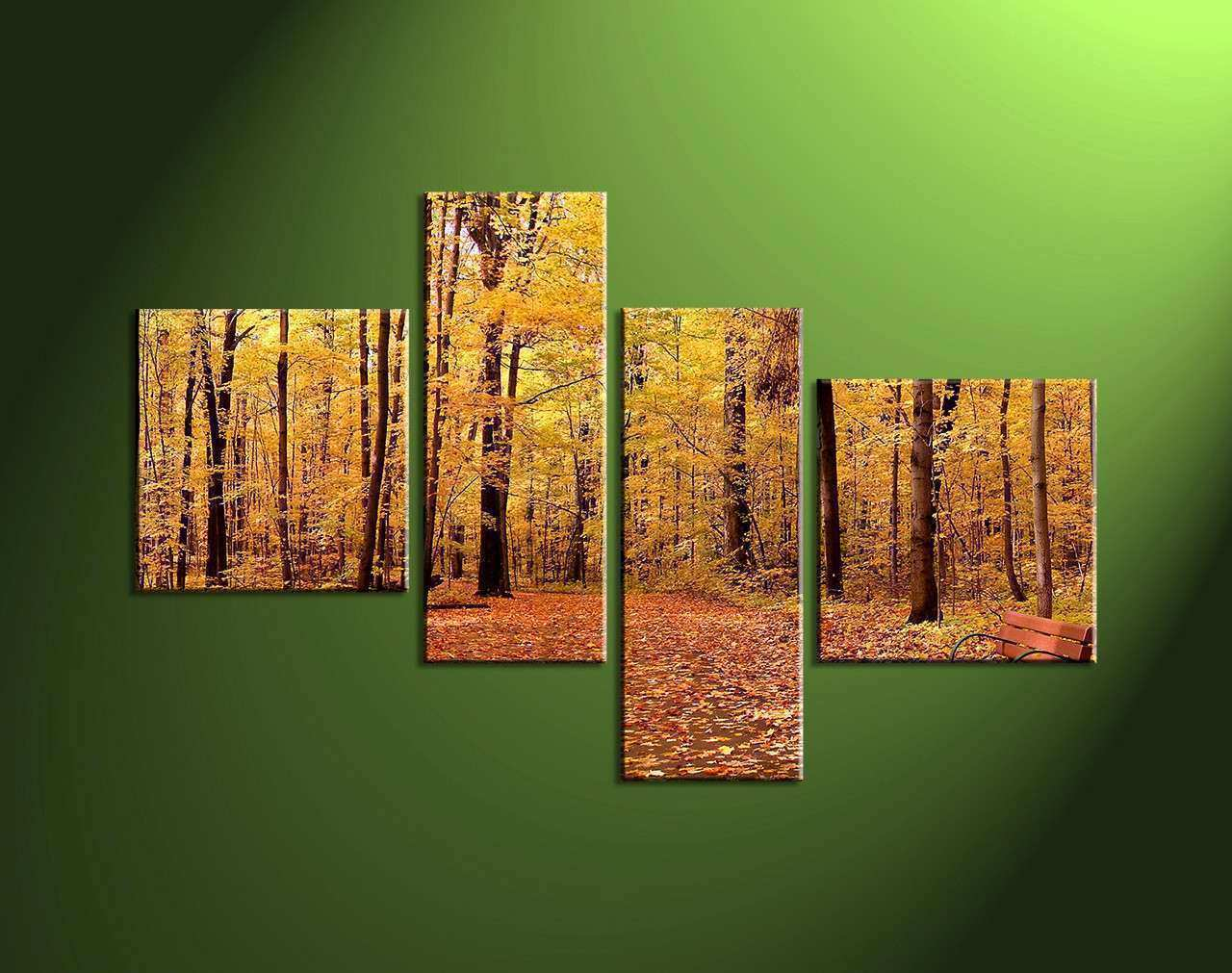 4 Piece Nature Scenery Yellow Trees Canvas Wall Art