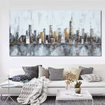 New York City Canvas Wall Art Elegant 1 Panel Classic New York City Skyline Unframed Modern Wall Of New York City Canvas Wall Art