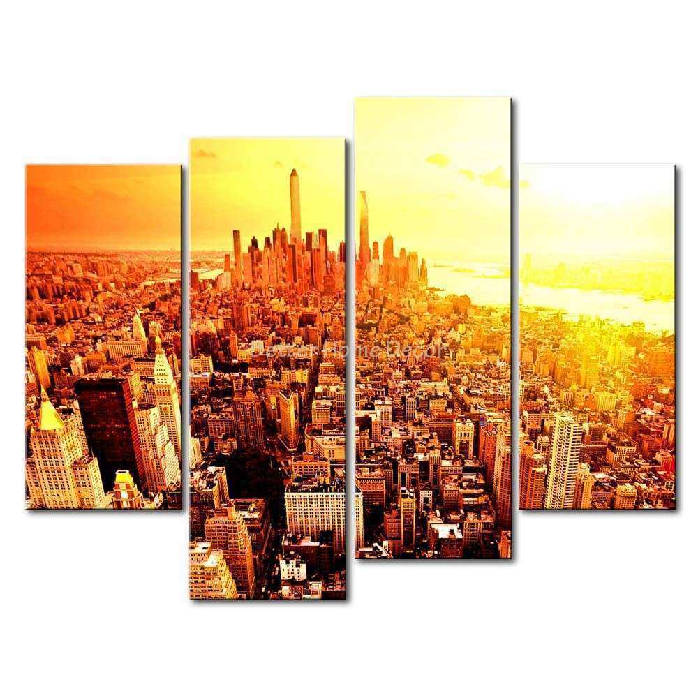3 Piece Wall Art Painting New York City Sunrise Picture